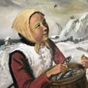 Girl With Fish Basket Art Print