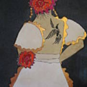 Lady With Flowers Art Print