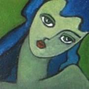 Girl With Green Eye Art Print