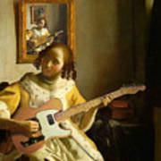 Girl With Guitar Art Print