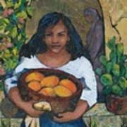 Girl With Mangoes Art Print