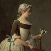 Girl With Racket And Shuttlecock Art Print by Jean-Baptiste Simeon Chardin