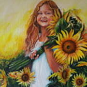 Girl With Sunflowers Art Print