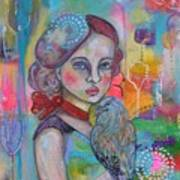 Girl with Nicobar bird Original Canvas Painting Art Print