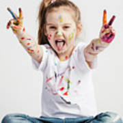 Girl With Victory Sign Sticking Out Her Tounge Art Print