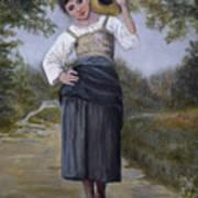 Girl With Water Jug Art Print