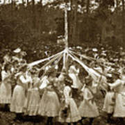 Girls  Doing The Maypole Dance Pacific Grove Circa 1890 Art Print