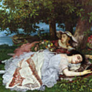 Girls On The Banks Of The Seine Art Print by Gustave Courbet