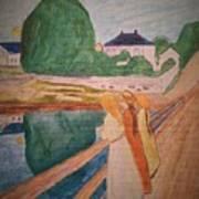 Girls On The Bridge Art Print