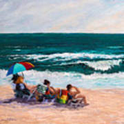 Girsl On The Beach Art Print