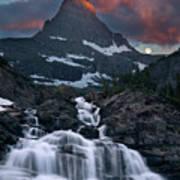 Glacier Morning Waterfall And Moonset Art Print