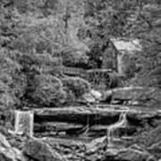 Glade Creek Grist Mill 3 Bw Art Print