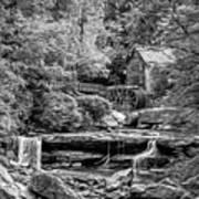 Glade Creek Grist Mill 3 - Paint 2 Bw Art Print
