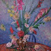 Gladiolas And Dahlias Art Print