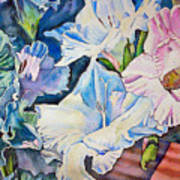 Glads On The Deck Print by June Conte  Pryor