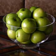 Glass Bowl Of Green Apples  Art Print
