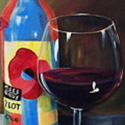 Glass Of Merlot   Art Print
