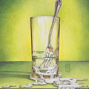 Glass With Melting Fork Art Print