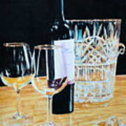 Glass Wood And Light And Wine Art Print
