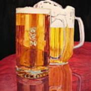 Glass Wood Light And Beer Art Print