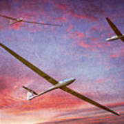 Gliders Over The Devil's Dyke At Sunset Art Print
