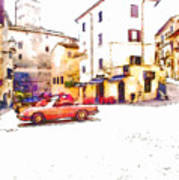 Glimpse With Cars Art Print