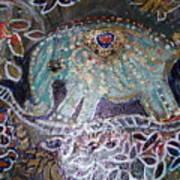 Glitter Girl Elephant Walking In My Dream  Art Print