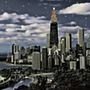 Glittering Chicago Christmas Tree Art Print