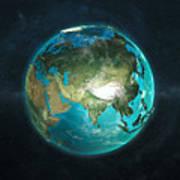 Globe Physical Asia Art Print