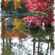 Glorious Fall Colors Reflection With Border Art Print