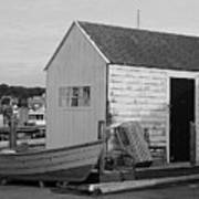 Gloucester Boathouse In Black And White Art Print