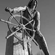 Gloucester Fisherman's Memorial Statue Black And White Art Print