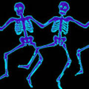 Glowing Dancing Skeletons Art Print