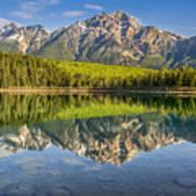 Glowing Morning At Pyramid Mountain Jasper Alberta Art Print