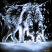 Glowing Wolf In The Gloom Art Print