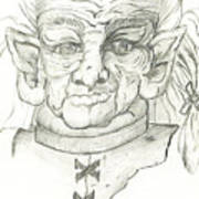 Gnarlsworth Gnome - Black And White Art Print