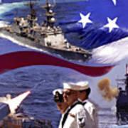 Go Navy Collage Art Print