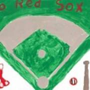 Go Red Sox Print by Rosemary Mazzulla