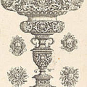 Goblet, Rim Decorated With Masque And Bouquet Of Fruit Art Print