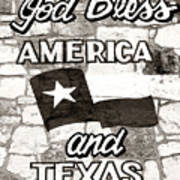 God Bless America And Texas Art Print