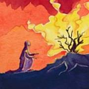 God Speaks To Moses From The Burning Bush Art Print by Elizabeth Wang