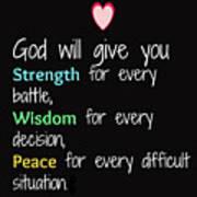 God Will Give You Strength T-shirt Art Print