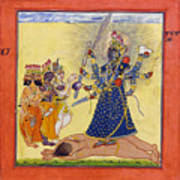 Goddess Bhadrakali Worshipped By The Gods. From A Tantric Devi Series Art Print