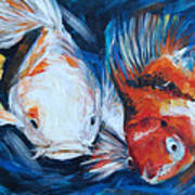 Gold And Koi Fish 1 Art Print