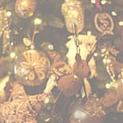 Gold Christmas Tree Decorations Art Print