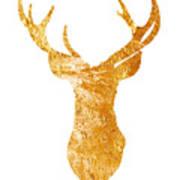 Gold Deer Silhouette Watercolor Art Print Art Print