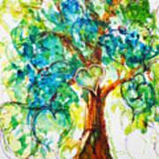 Gold Heart Valentine Tree Watercolor N Ink Art Print