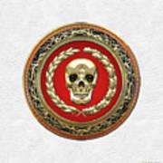 Gold Human Skull Over White Leather  Art Print