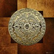 Gold Mayan-aztec Calendar On Brown Leather Art Print