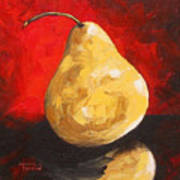 Gold Pear On Red  Art Print